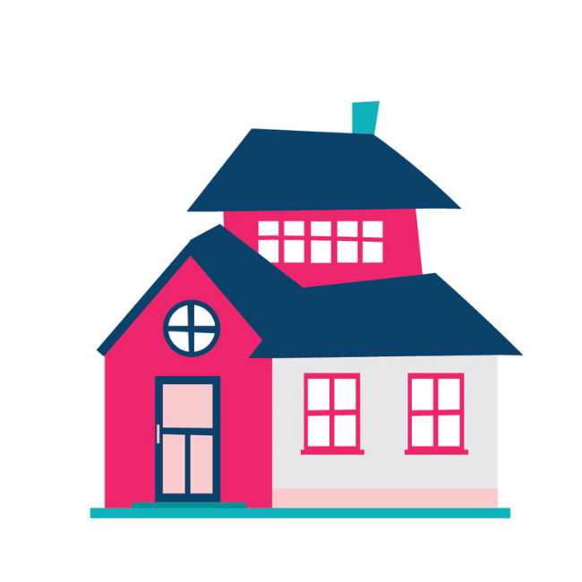 An illustration of the Conveyancing Hunter Valley - Oliver & Co. Conveyancing pink and blue double storey house