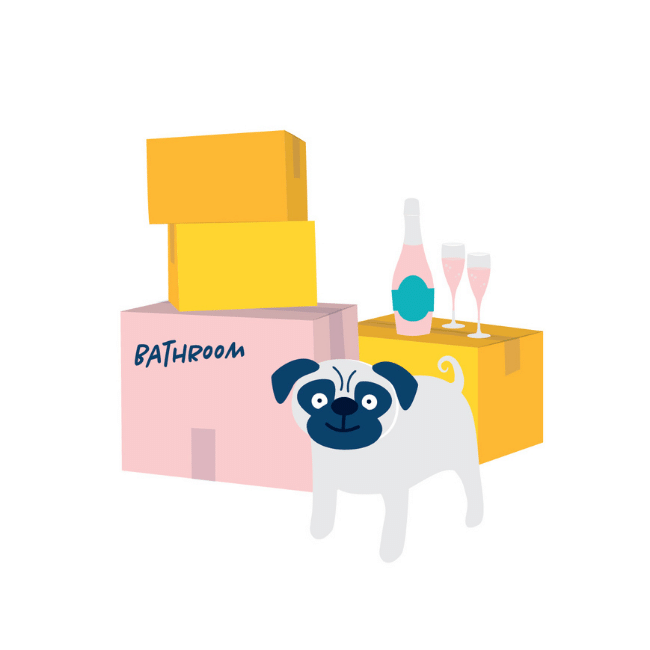 An illustration of the Conveyancing Hunter Valley - Oliver & Co. Conveyancing pug dog with boxes piled up behind her and wine bottle and two glasses on top of one of the boxes