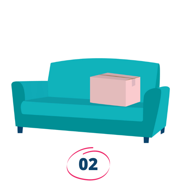 An illustration of the Oliver & Co. Conveyancing turquoise couch